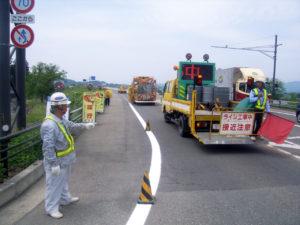 国道46号 外側線施工状況